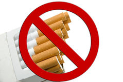 Cigarette package. A isolated cigarette package, white background Stock Images