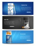 Cigarette Packs Realistic Banners. Premium quality filter cigarettes packs advertisement 3 stylish horizontal realistic banners web page design isolated vector Stock Photography