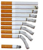 Cigarette phases. Lit cigarette phases for backgrounds royalty free stock photo