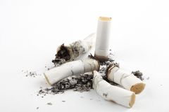 Cigarette. Photographed and put on a white background cigarette ashes Stock Images