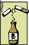 Cigarette poison vector illustration. Vector illustration of a cigarette and a bottle of poison, representing the risk of smoking Stock Image