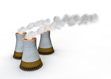 Cigarette power plants. 3D render of cigarettes as powerplant cooling towers Royalty Free Stock Photo