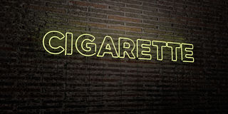 CIGARETTE -Realistic Neon Sign on Brick Wall background - 3D rendered royalty free stock image. Can be used for online banner ads and direct mailers Stock Photos