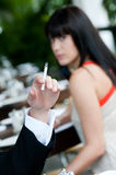 Cigarette At Restaurant Royalty Free Stock Photo