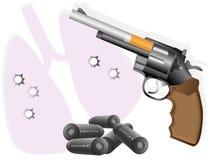 Cigarette and revolver Stock Photos