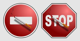 Cigarette on a sign Stock Photo