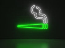 Cigarette - Series Neon Signs. A green and white Neon Sign in Form of a Cigarette on a Wall of Concrete Royalty Free Stock Photos