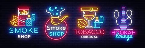 Free Cigarette Shop Logo Collection Neon Vector. Smoke Shop Neon Signs, Hookah Lounge, Vector Design Template Vector Stock Photography - 118317462