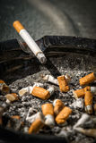 Cigarette on Side of Dirty Ashtray Royalty Free Stock Image