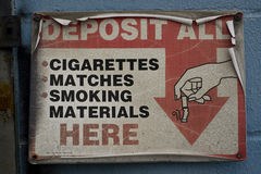 Cigarette Sign Royalty Free Stock Photo