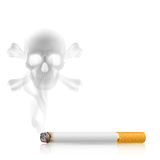 Cigarette and Skull shaped smoke Stock Photography