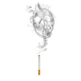 Cigarette with  skull smoke effect.  Stock Image