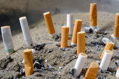 Cigarette after smoke. In ashtray Stock Photography