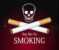 Cigarette smoke graphic on red background reading  Stock Photography