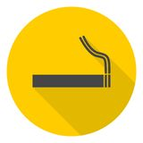 Cigarette smoke sign icon with long shadow Royalty Free Stock Images