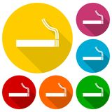 Cigarette smoke sign icons set with long shadow Stock Photos