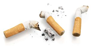 Cigarette butts Isolated. Cigarette smoking quit smoking smoking cessation nicotine habit bad habit Stock Photography