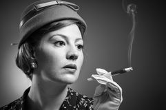 Cigarette Smoking Retro Woman Royalty Free Stock Photography
