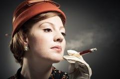 Cigarette Smoking Retro Woman Stock Image