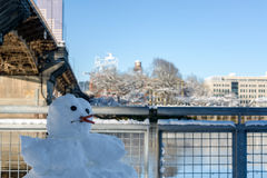 Cigarette Smoking Snowman Royalty Free Stock Images