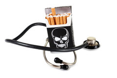 Cigarette and stethoscope Stock Photography