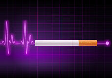 Cigarette stopping the heartbeat line Stock Photo