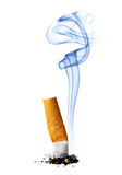 Cigarette stub with smoke. Isolated over the white background Royalty Free Stock Image