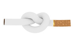 Cigarette tied to a knot. Isolated on white background. Anti smoking concept. High resolution 3D image vector illustration