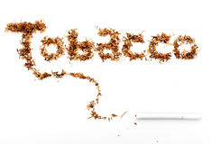 Cigarette Tobacco. Isolated on white background where tobacco is spelled out from actual tobacco Stock Images
