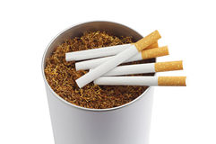 Cigarette and tobacco in jar Stock Photos
