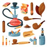 Cigarette vector smoking tobacco or cigar with nicotine and cigarette-end in ashtray illustration set of cigar-case or. Hookah and tobacco leaves isolated on Stock Photo