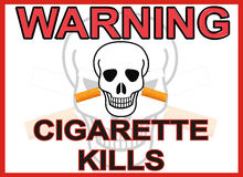 CIGARETTE WARNING. WARNING AGAINST CIGARETTE  SMOKING, A CAUTION FOR WHAT MAY HAPPEN TO YOU Stock Photos