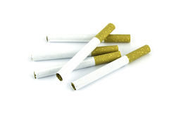 Cigarette on white background Royalty Free Stock Photos