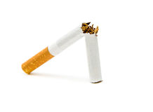 Cigarette on a white background. No smoking. Isolated Stock Photos