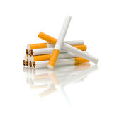 Cigarette on a white background with reflection Royalty Free Stock Photo