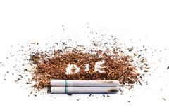 Cigarette. White cigarette of die concpt Royalty Free Stock Image