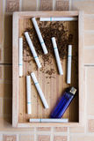 Cigarette wood background Royalty Free Stock Photo