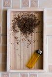Cigarette wood background Royalty Free Stock Image