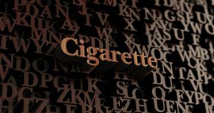 Cigarette - Wooden 3D rendered letters/message. Can be used for an online banner ad or a print postcard Stock Photo