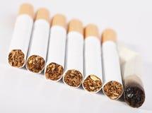 cigaretten avslutade inte en hel rökning royaltyfria foton