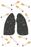 Cigaretter Ash In Lung-No Smoking Concept Arkivbild