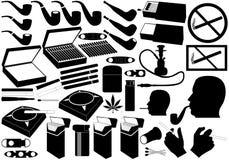 Cigaretter leda i rör och cigarrer Vektor Illustrationer