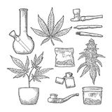 Cigaretter röret, tändare, slår ut cannabis Tappninggravyr vektor illustrationer