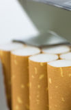Cigarettes. Pack closeup white background Royalty Free Stock Photography