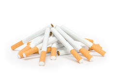 Cigarettes. Heap from cigarettes isolated on white background Stock Photography