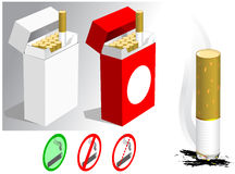 Cigarettes. Vector drawing of blank boxes of cigarettes with set of labels and smoking cigarette butt on side Royalty Free Stock Photo