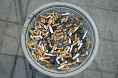 Cigarettes. Close up shot of cigarettes in ashtray stock images