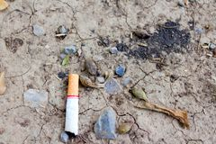 Cigarettes on arid soil and rocks stock photography