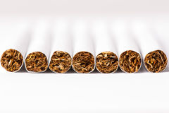 Cigarettes arranged in a row, a background Stock Image