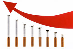 Cigarettes with an arrow in the form of the diagra Stock Images